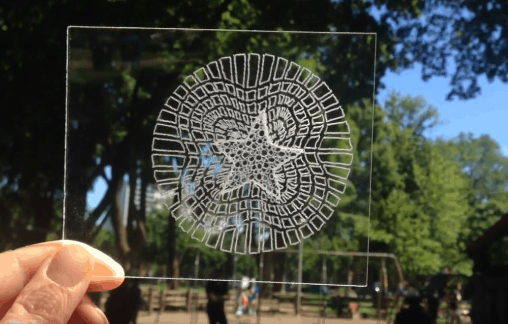 Inscribed plexiglass held up in front of trees.