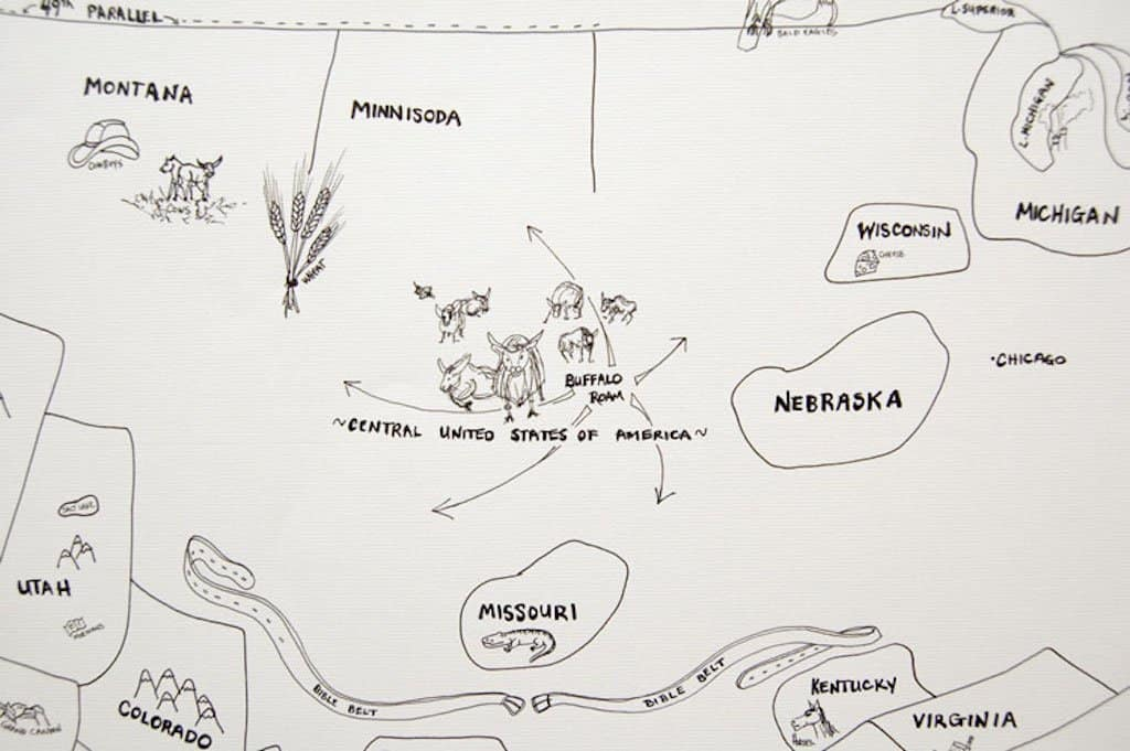 Rough drawing of USA map by memory.